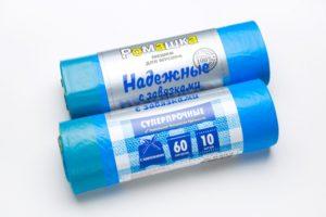 Мусорный мешок в рулоне с завязками 60 л. 10 шт. (СИНИЙ)