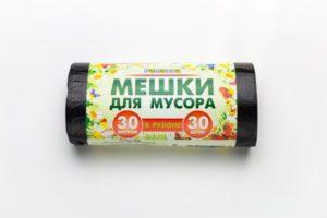 Мусорный мешок в рулоне 30 л. 30 шт. Ромашка (ЧЕРНЫЙ)