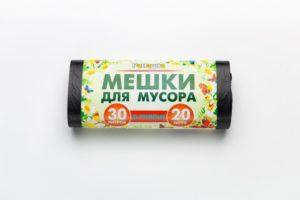Мусорный мешок в рулоне 30 л. 20 шт. (ЧЕРНЫЙ)