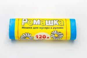 Мусорный мешок в рулоне 120 л. 10 шт. (СИНИЙ) Ромашка