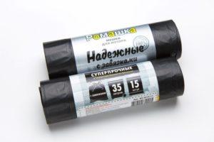 Мусорный мешок в рулоне с завязками 35 л. 15 шт. (ЧЕРНЫЙ)