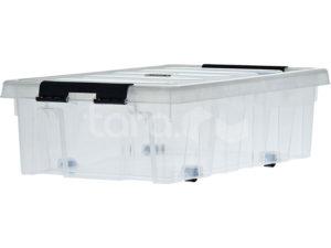 Ящик п/п 500х390х400 мм с крышкой и клипсами, на роликах