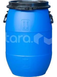 Бочка п/э 65л с крышкой на пластиковом обруче синяя