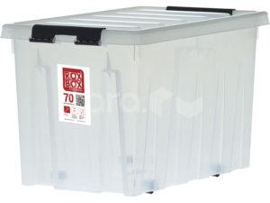 Ящик п/п 600х400х360 мм с крышкой и клипсами, на роликах